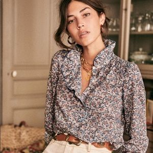 NWT Sezane Chloe Shirt Floral Bloom Blue sz34
